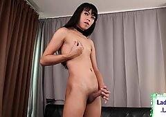 Sexy lingerie ladyboy spreads her buttcheeks