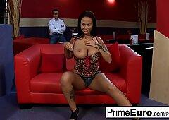 Big breasted slut gets banged on the sofa