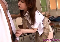 Petite asian schoolgirl banged in classroom