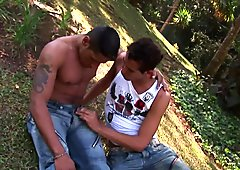 Outdoor lovers Alber and Andre fuck each other to climax