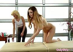 Lesbian masseuse scissoring babe outdoors