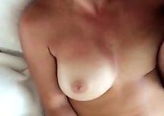 Crazy slut masterbates while I cum on her face