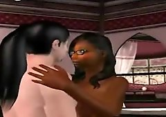 Foxy 3D cartoon ebony vixen sucking on a hard cock
