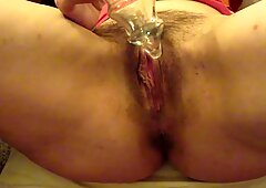 Lexi Toys Her Hairy Pussy As Hubby and His Friend Watch