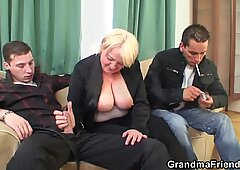 Two buddy pick up drunk big tits blonde old lady