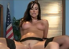 Strict brunette teacher punishes her student in class