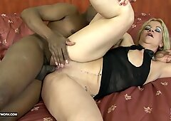 Old woman rough anal invasion with money-shot interracial shag big cock
