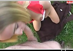 Blonde german bitch gets fucked on car hood pov