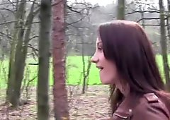 Girlfriends Lesbians go in to woods and make hot sextape