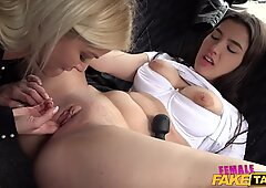 dame faux taxi Backseat lesbian orgasm lessons