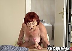 Redhead grandma gives head before passionate banging