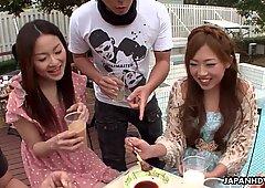 Asian gangbang outdoors