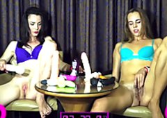 Two horny teen sluts relentlessly drill their tiny twats
