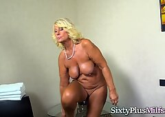 Horny Blonde Granny Loves Hard Cock in Her Pussy