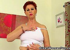 British granny Sensual Caroline gets her fanny soaked