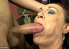 Hot skank gets her smooth dripping cunt filled with creamy jizz
