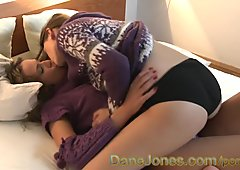 DaneJones Beautiful teen lesbians experiment with a toy after skiing