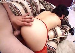 The bushy pussy of whorish Kimberly gets banged both doggy and missionary