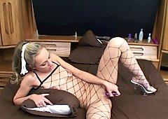 Horny hottie Penelope Sky fucks her ass with a dildo