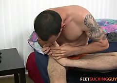 Scruffy foot lover Geo loves stroking his smooth sexy feet