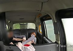 Natural tits redhead licks ass in fake taxi