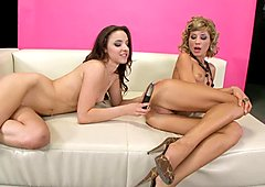 Sophie Moone dildoed by hot babe while cam is on