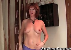 red-haired cougar Gets Her moist Mature Pussy Finger Fucked By Photographer