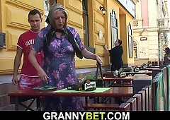 Picked up busty older grandmother rides his horny fuckpole