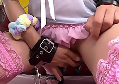 Pretty in pink Asian girl gets a creampie
