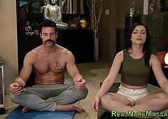 Kinky teenager strokes masseur