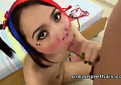 Cute alt Thai teen gets fucked and creampied