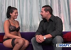 Busty asian hottie pleases stressed out dude with a steamy massage