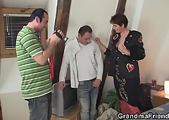 They film very old granny threesome