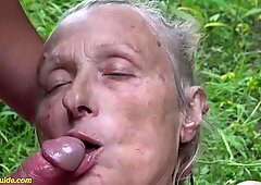 busty 85 years old granny first time rough outdoor banged by a younger man