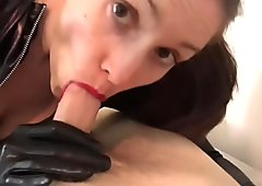 Sexy Girlfriend With Leather Suit Sucks Dick
