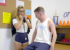 Blonde mature coach banged player