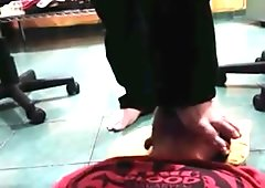 Foot worship standing on face