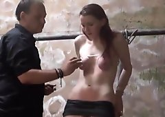 Filthy dungeon whipping and private bdsm of skinny