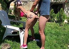 kinky Outdoor ass fucking in Garden by unexperienced Couple