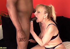 74 year old mom enjoys her first black dick