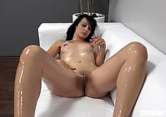 Brunette slut loves her first porn casting interview