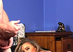 Blonde femdomina teases