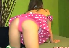 Teen in sexy pink dress