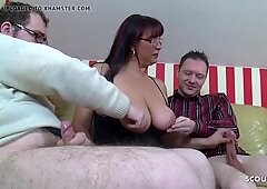 Big Natural Tits Mother Teach Step Son and Friend to Fuck