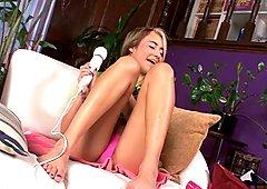 Marina Angel masturbating with a fat Hitachi Wand